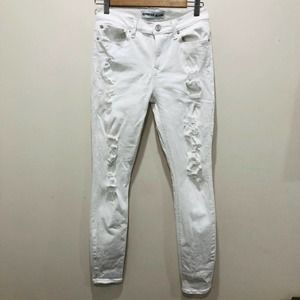 Express White Distressed Skinny Jegging Jeans 4R